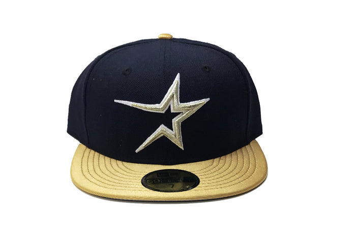 "New Era Houston Astros Fitted Grey Bottom ""Navy Gold"""