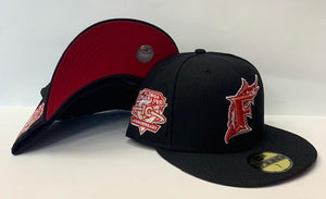 "New Era Florida Marlins Fitted Red Bottom ""Black Red"" (10Th Anniversary Embroidery) $45.00"