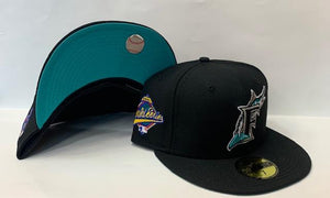"New Era Florida Marlins Fitted Teal Bottom ""Black Teal"" (1997 World Series Embroidery)"