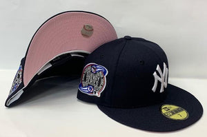 "New Era New York Yankee Fitted Pink Bottom ""Navy Blue White"" (2000 Subway Series Embroidery)"