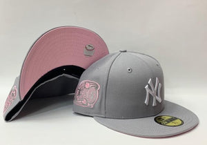 "New Era New York Yankee Fitted Pink Bottom ""Grey White"" (2000 Subway Series Embroidery)"