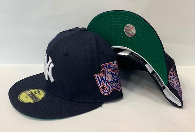 "New Era New York Yankee Fitted Green Bottom ""Navy Blue"" (75Th World Series Embroidery)"
