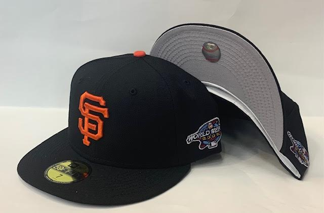 "New Era San Francisco Giants Fitted Grey Bottom ""Black Orange"" (2002 World Series Embroidery) $45.00"