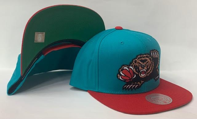 "Mitchell & Ness Vancouver Grizzlies Wool 2 Tone Snapback Green Bottom ""Teal Red"""