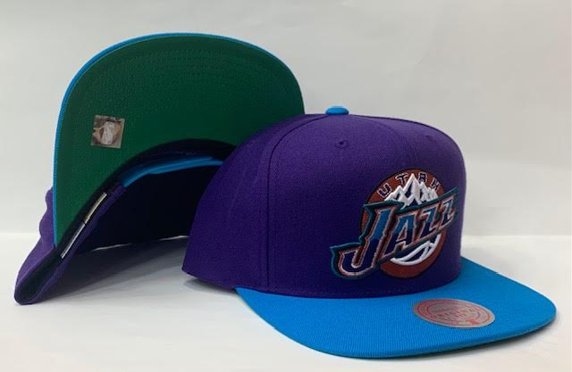 "Mitchell & Ness Utah Jazz Wool 2 Tone Snapback Green Bottom ""Purple Teal"""