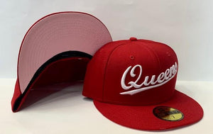 "New Era Queens NY Fitted Pink Bottom ""Red White"" $60.00"