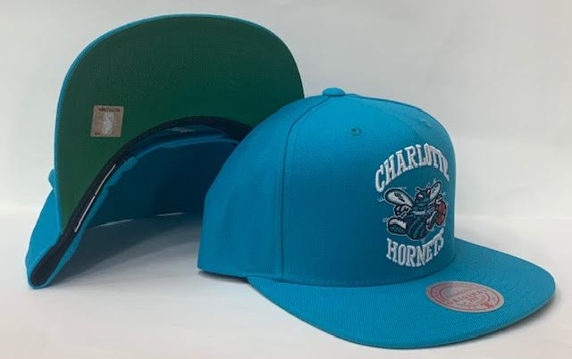 "Mitchell & Ness Charlotte Hornets Team Ground Snapback Green Bottom ""Teal"""