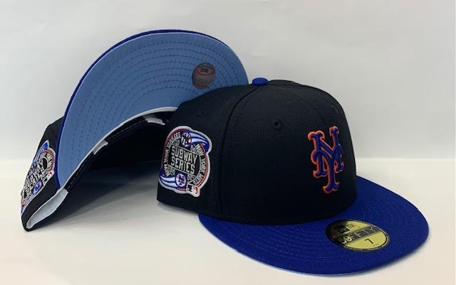 "New Era New York Mets Fitted Sky Blue Bottom ""Black Royal"" (2000 Subway Series Embroidery)"