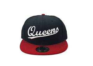 "Queens NY Fitted ""Black Red"" $35.00 - FCSSNEAKERS.COM"