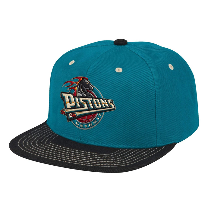 "Mitchell & Ness Detroit Pistons Contrast Stitch Snapback ""Teal Black"""