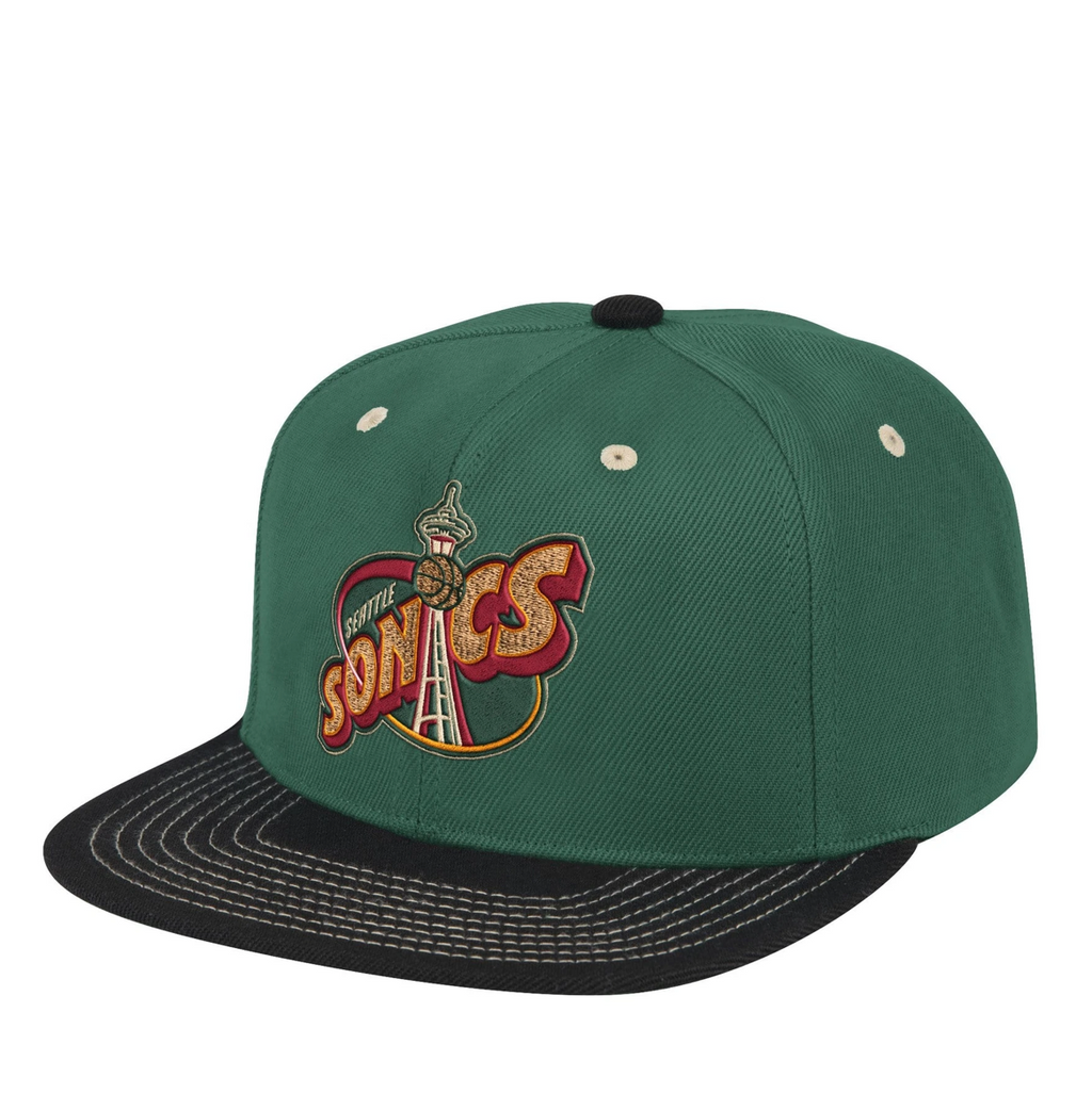 "Mitchell & Ness Seattle Sonics Contrast Stitch Snapback Green Bottom ""Green Black"""