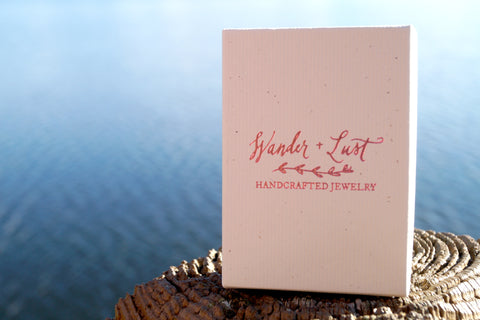 wander and lust jewelry, handcrafted jewelry, packaging, box