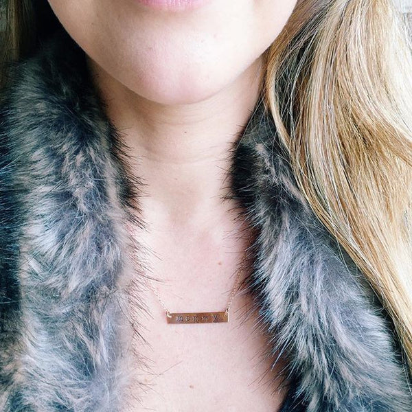 Rose Gold Personalized Bar Necklace - Wander + Lust Jewelry  - 3