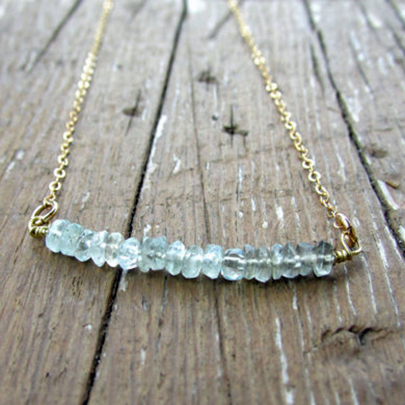 Aquamarine Bar Necklace, Necklace, - Wander + Lust Jewelry