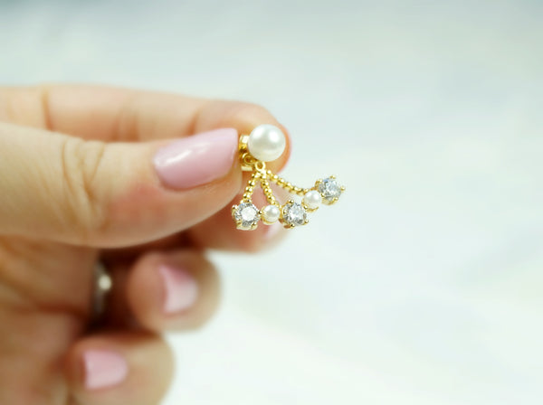 CZ Pearl Ear Jackets, Earrings, - Wander + Lust Jewelry