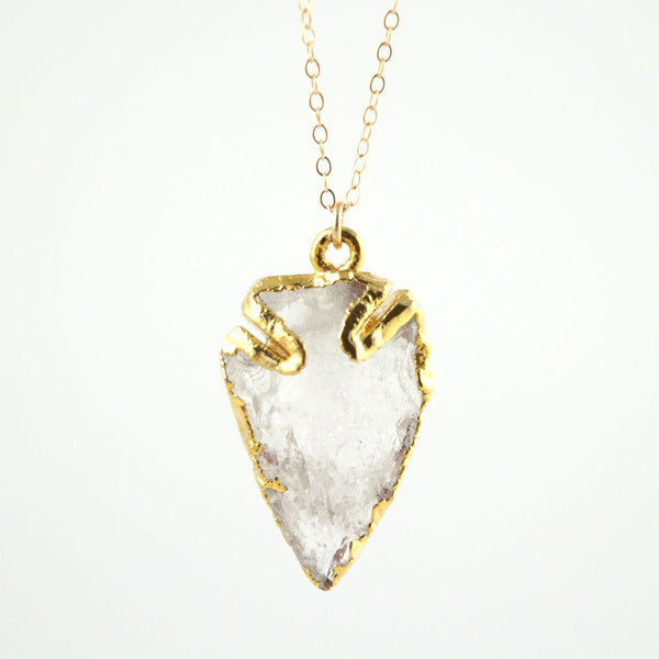Crystal Quartz Arrowhead Necklace, Necklace, - Wander + Lust Jewelry