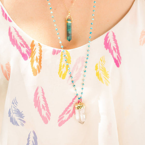 Crystal Quartz Turquoise Rosary Necklace - Wander + Lust Jewelry  - 2