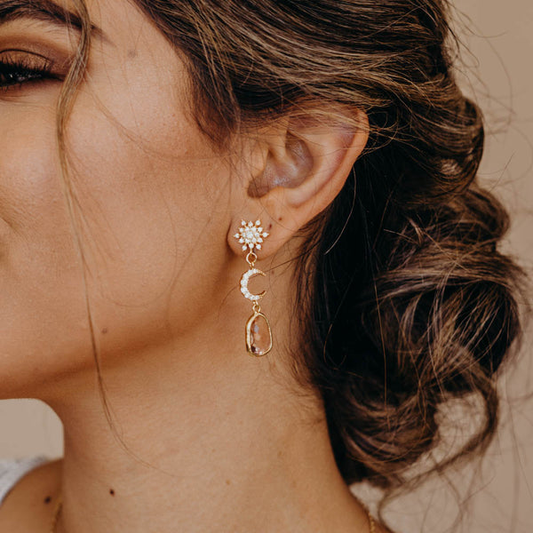 AYLIN Crescent Drop Earrings, Earrings, - Wander + Lust Jewelry