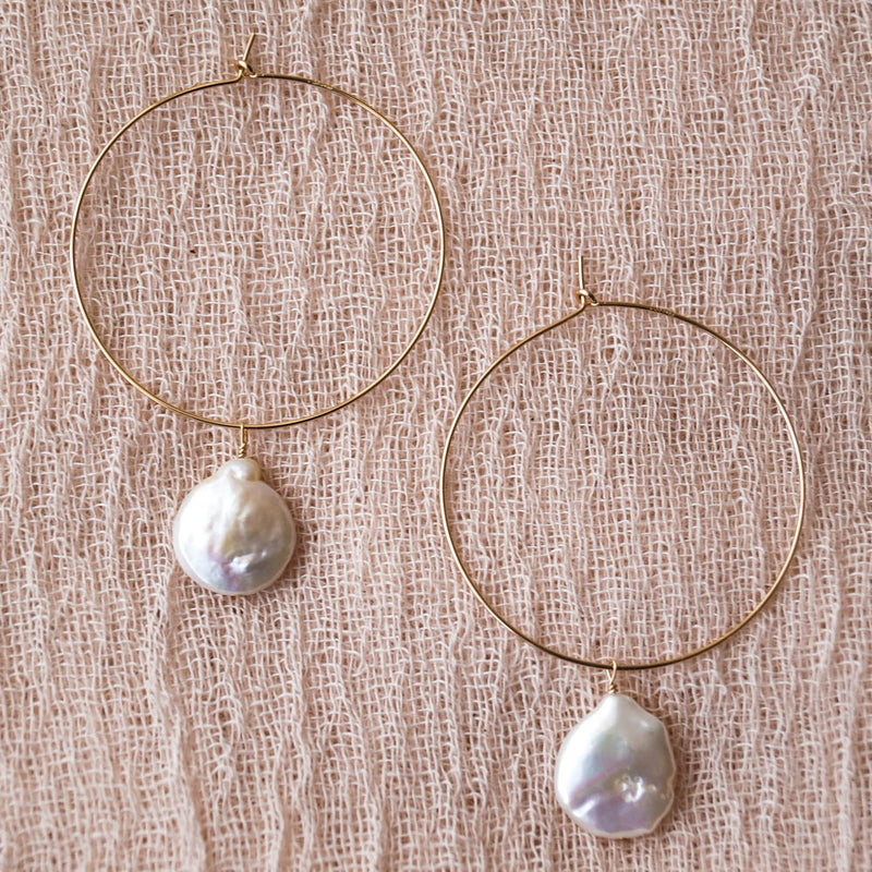 Leimomi Pearl Hoops, Earrings, - Wander + Lust Jewelry