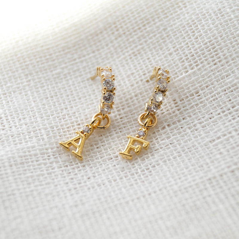 Tiny Initial Hoops, Earrings, - Wander + Lust Jewelry