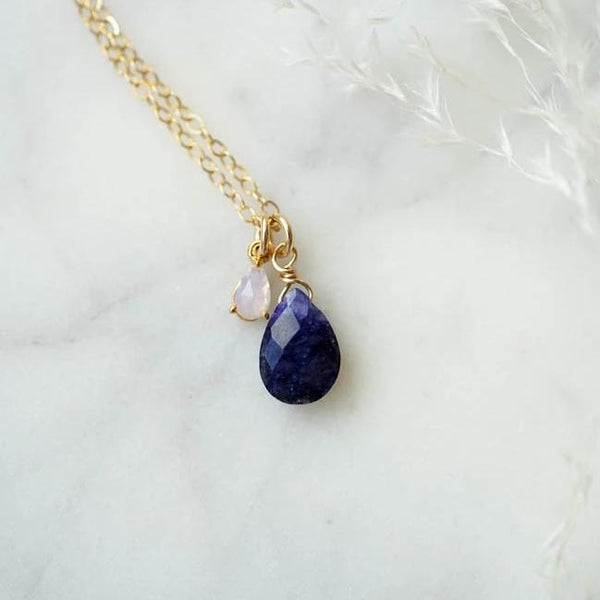 INDIGO Sapphire Necklace, Necklace, - Wander + Lust Jewelry