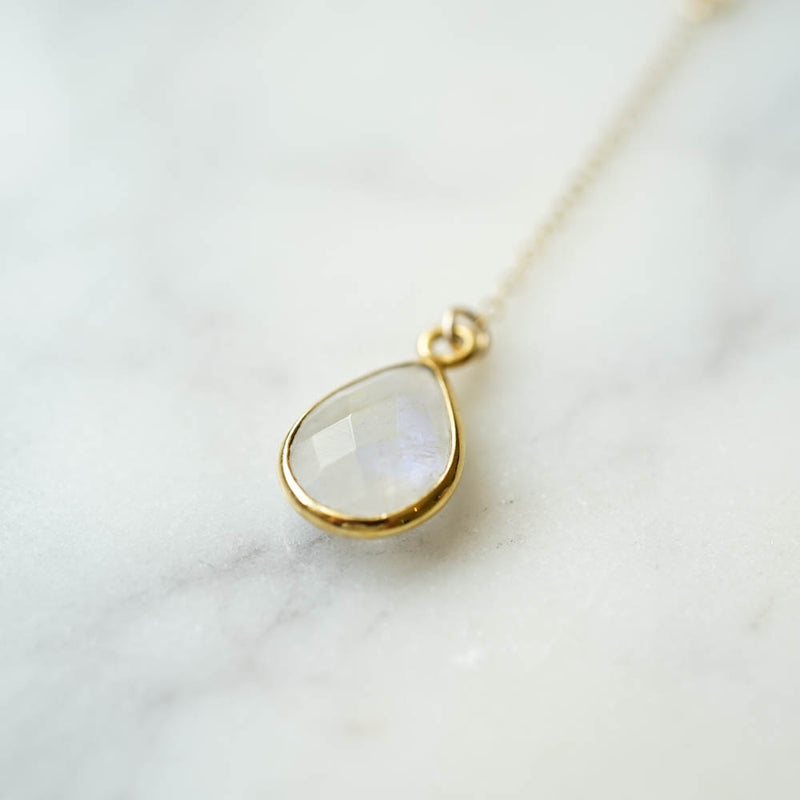 CELESTE Moonstone Y Necklace, Necklace, - Wander + Lust Jewelry