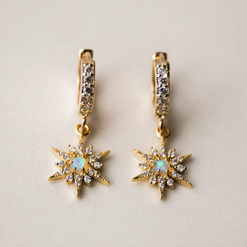 Opal Star Huggies, Earrings, - Wander + Lust Jewelry