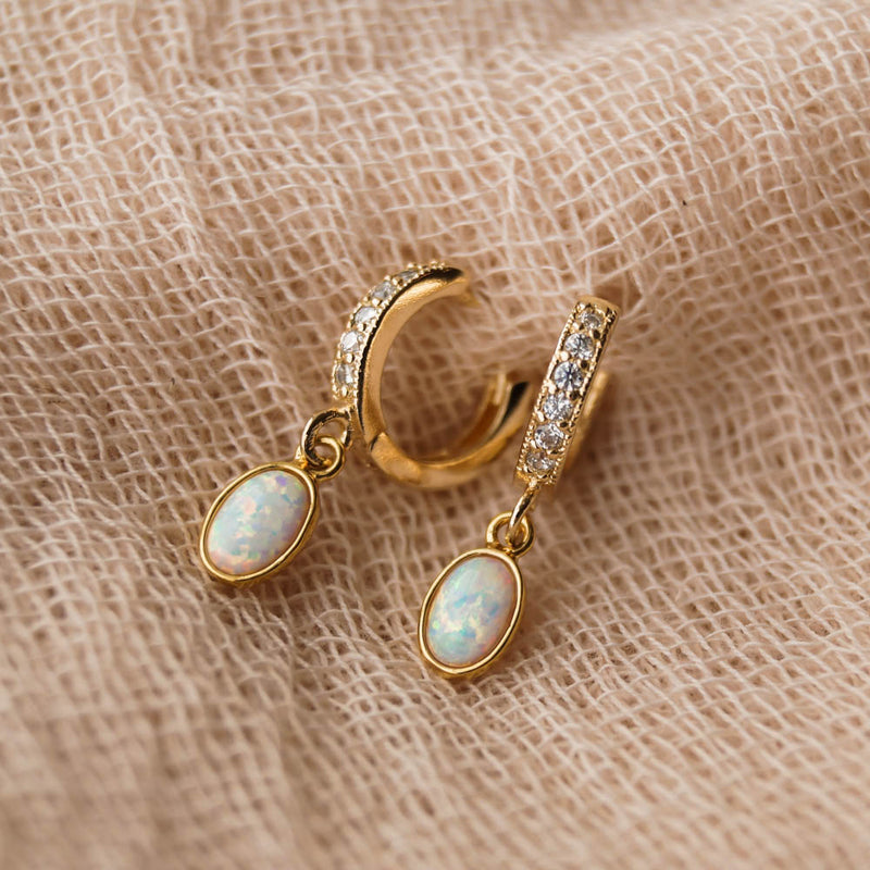 Edith Opal Huggies, Earrings, - Wander + Lust Jewelry
