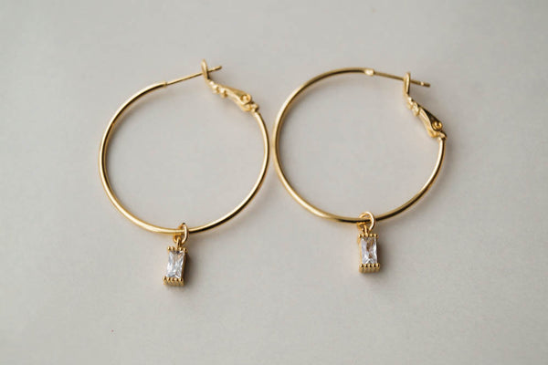 Remi CZ Hoops, Earrings, - Wander + Lust Jewelry