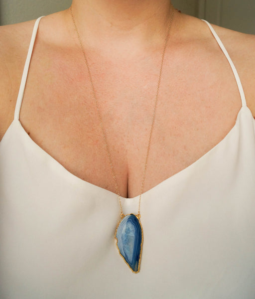 Blue Agate Necklace, Necklace, - Wander + Lust Jewelry