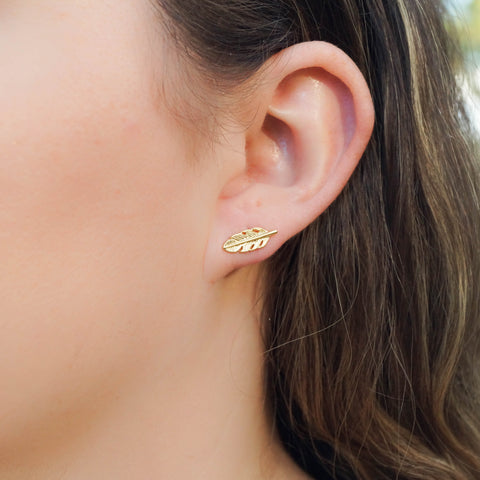 Tiny Feather Studs