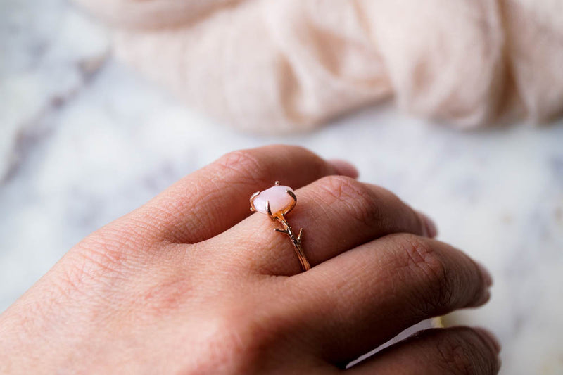 Pink Opal Ring, Ring, - Wander + Lust Jewelry