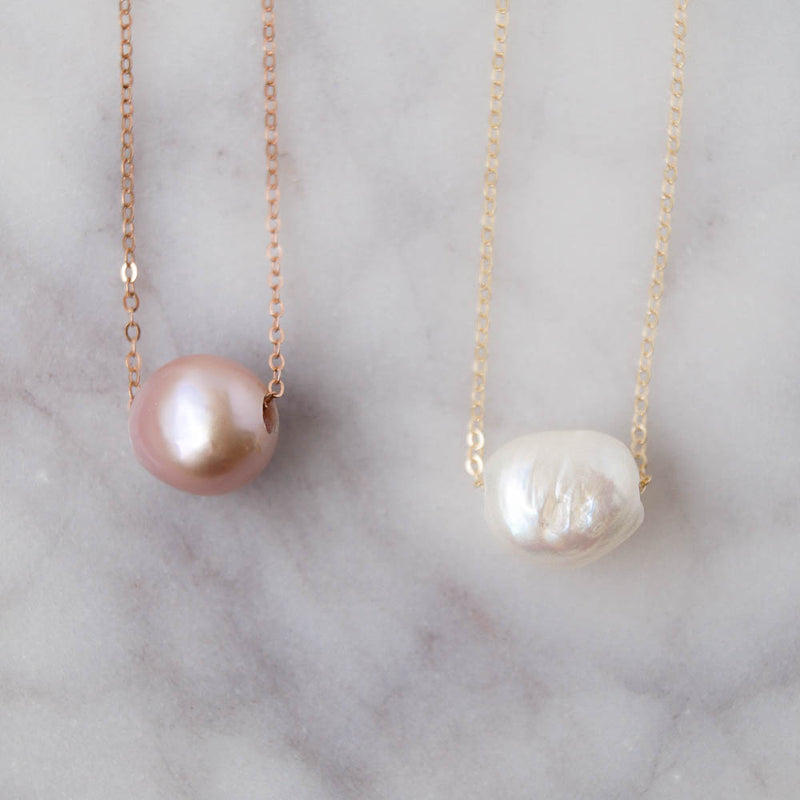 Kuaui Pink Pearl Necklace, Necklace, - Wander + Lust Jewelry