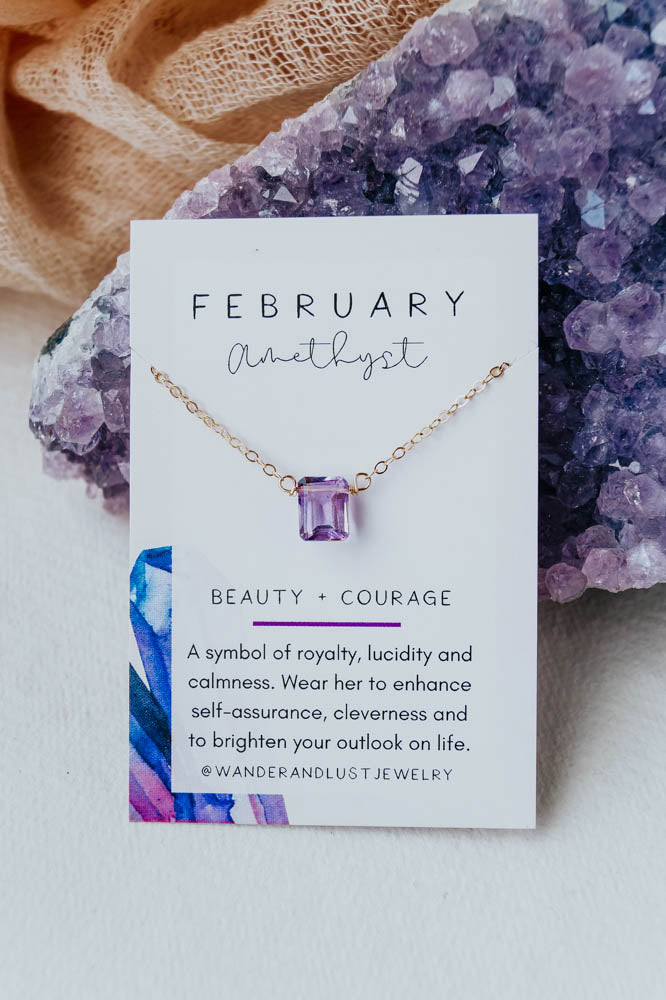 February Birthstone Necklace, Necklace, - Wander + Lust Jewelry