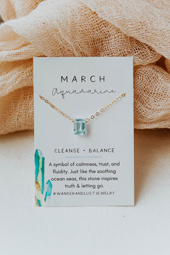March Birthstone Necklace, Necklace, - Wander + Lust Jewelry