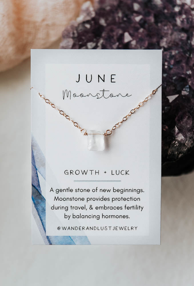 June Birthstone Necklace, Necklace, - Wander + Lust Jewelry