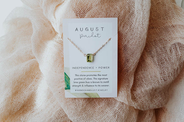 August Birthstone Necklace, Necklace, - Wander + Lust Jewelry
