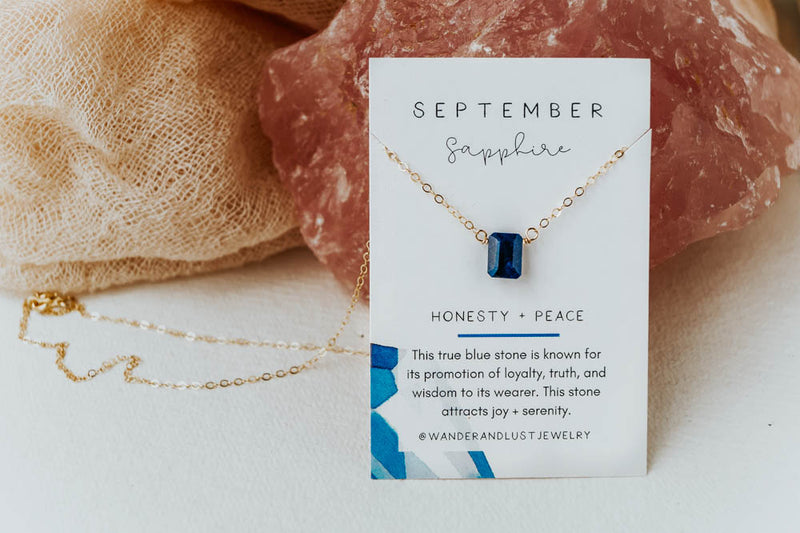 September Birthstone Necklace, Necklace, - Wander + Lust Jewelry