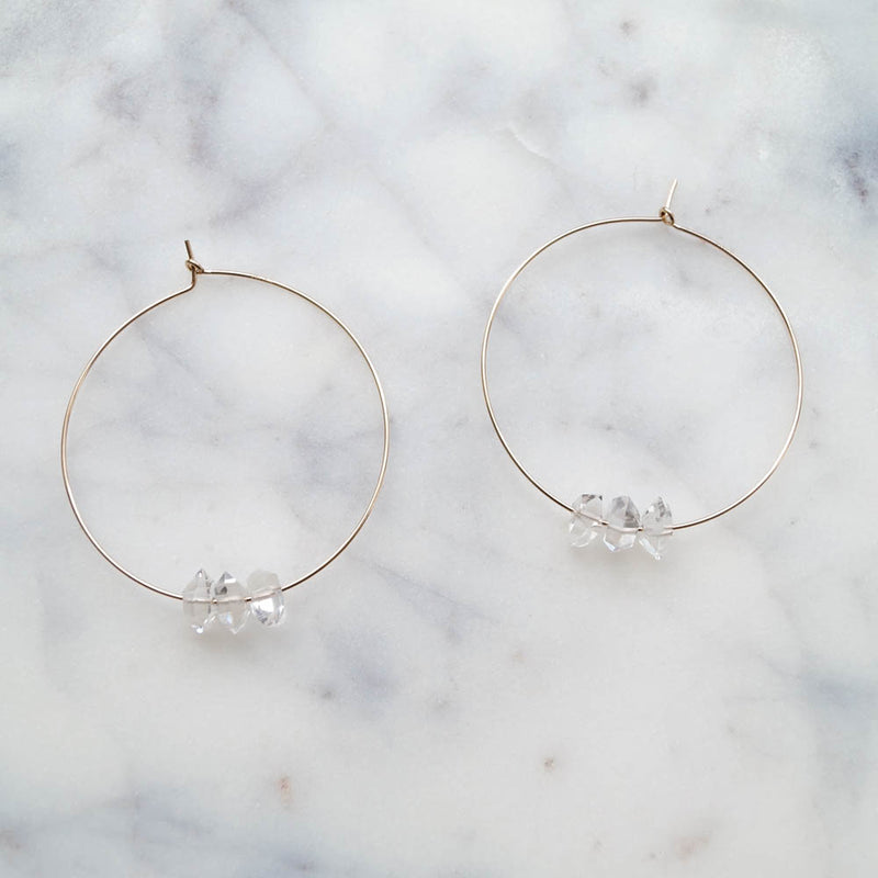 Herkimer Diamond Hoops, Earrings, - Wander + Lust Jewelry