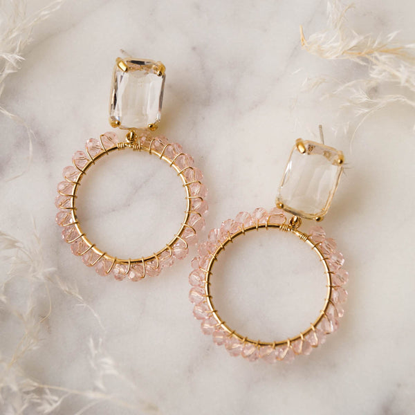 ARDEN Pink Beaded Hoops, Earrings, - Wander + Lust Jewelry