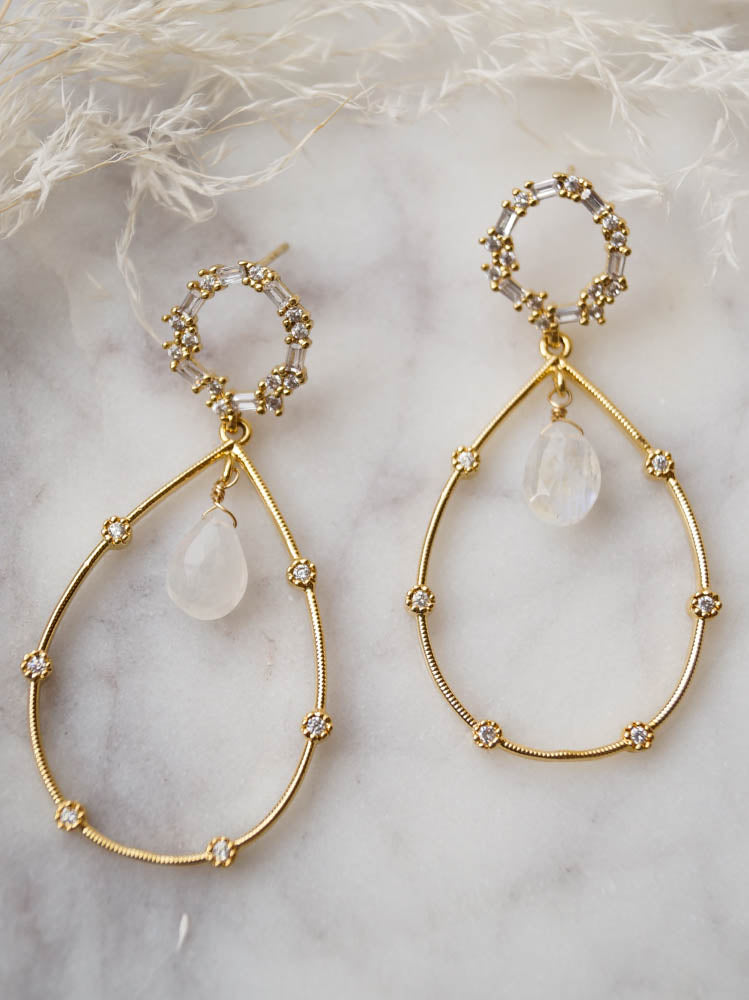 AURORA Moonstone Drops, Earrings, - Wander + Lust Jewelry