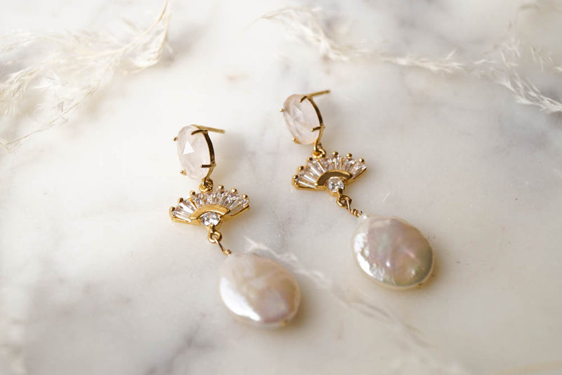 REESE Freshwater Pearl Earrings, Earrings, - Wander + Lust Jewelry