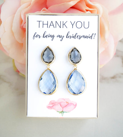 Gray and Blue Bridesmaid Earrings, Earrings, - Wander + Lust Jewelry