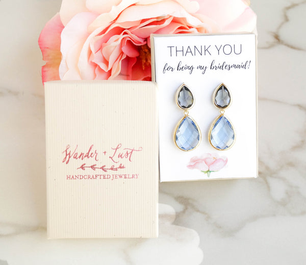 Thank You For Being My Bridesmaid Earrings, Earrings, - Wander + Lust Jewelry
