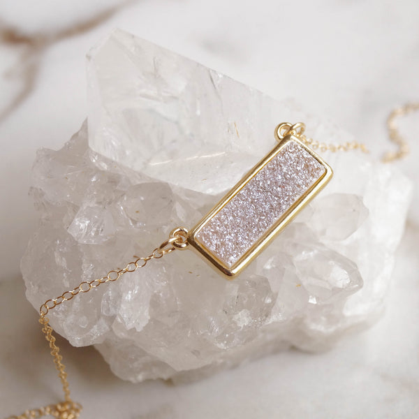 Light Druzy Bar Necklace - Wander + Lust Jewelry  - 3