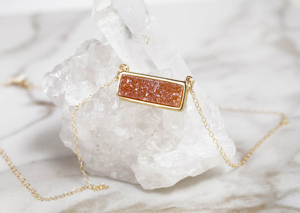 Light Druzy Bar Necklace - Wander + Lust Jewelry  - 4