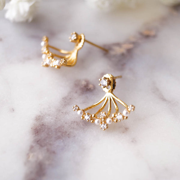 Gwyneth Pearl Ear Jackets, Earrings, - Wander + Lust Jewelry