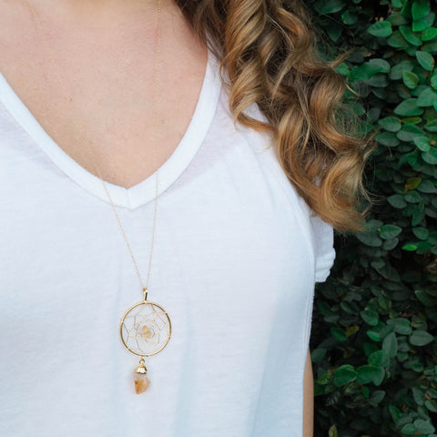 Gemstone Dreamcatcher Necklace - Wander + Lust Jewelry  - 1