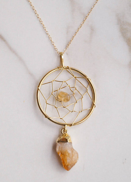 Gemstone Dreamcatcher Necklace - Wander + Lust Jewelry  - 2