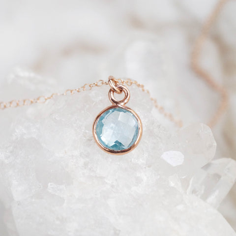 Blue Topaz Rose Gold Necklace - Wander + Lust Jewelry  - 1